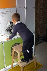 Photo of a young boy standing on a step and looking into a microscope